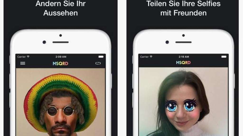 "Mit der App ""MSQRD by Masquerade"" bleibt kein Auge trocken. Spaßvögel können hiermit Video-Selfies zu einer Lachnummer machen. Screenshot: www.itunes.apple.com Foto:"